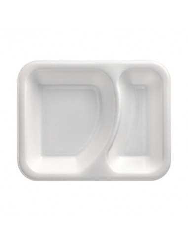 Bandejas para menú termosellables 2 compartimentos XPS blanco 825ml
