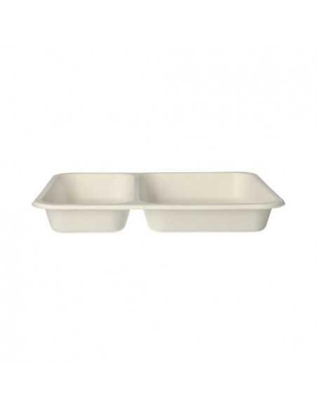 Bandejas termosellables envasado menús en caña azúcar blanco 2 compartimentos 700ml Pure