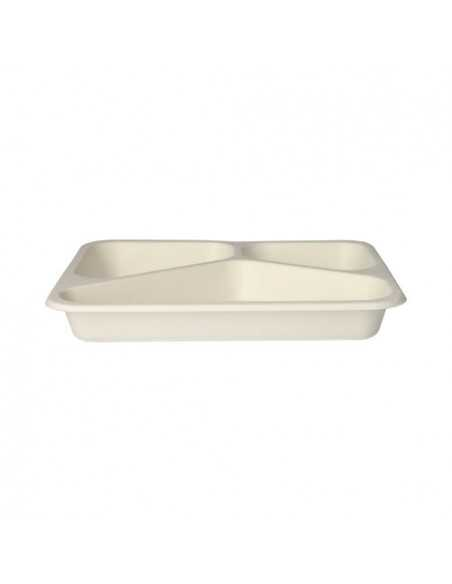 Bandejas termosellables envasado menús en caña azúcar blanco 3 compartimentos 600ml Pure