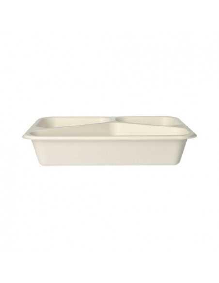 Bandejas termosellables envasado menús en caña azúcar blanco 3 compartimentos 800ml Pure