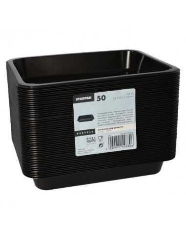 Envases comida para llevar plástico negro 935 ml