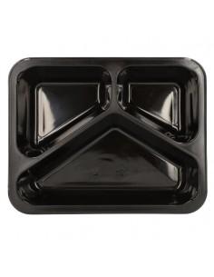 Bandejas microondables plástico negro 3 compartimentos 1095 ml