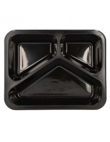 Envases comida para llevar plástico negro 3 compartimentos 1095 ml