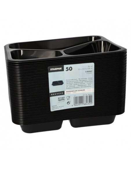 Envases comida para llevar plástico negro 3 compartimentos 765 ml