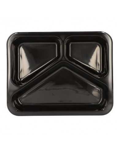 Bandejas microondables plástico negro 3 compartimentos 765 ml