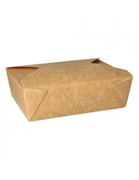 Cajas comida para llevar cartón marrón con tapa integrada 1600ml
