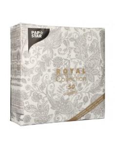 Servilletas de papel decoradas cachemir gris Royal Collection 40 x 40 cm