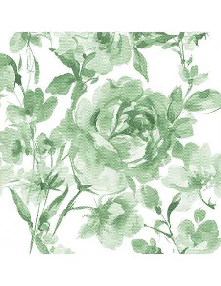 Servilletas de papel decoradas rosas verde Royal Collection 40 x 40 cm