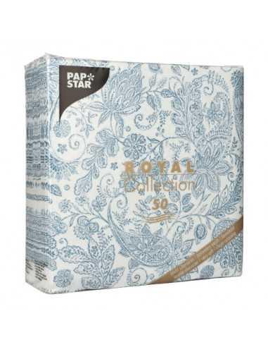 Servilletas de papel decoradas cachemir azul Royal Collection 40 x 40 cm