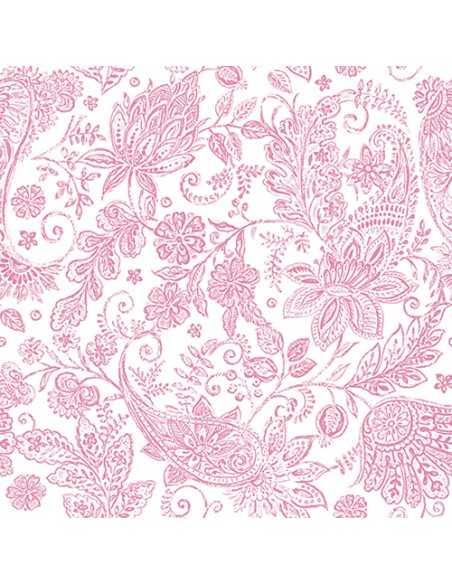 Servilletas de papel decoradas cachemir fucsia Royal Collection 40 x 40 cm