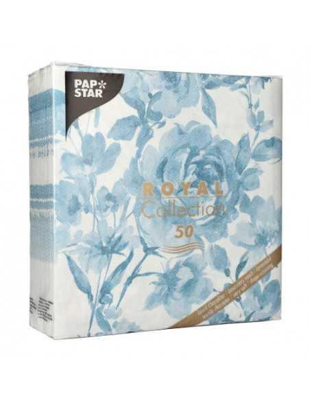 Servilletas de papel decoradas rosas azul Royal Collection 40 x 40 cm
