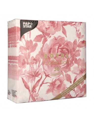 Servilletas de papel decoradas rosas burdeos Royal Collection 40 x 40 cm