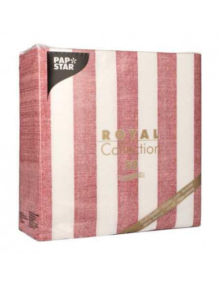 Servilletas de papel rayas burdeos blanco Royal Collection 40 x 40 cm