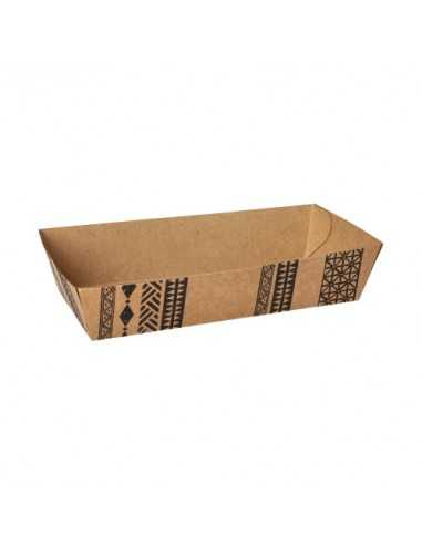 "Bandejas cartón para fritos marrón 10,6 x 17,2 cm ""Maori"""