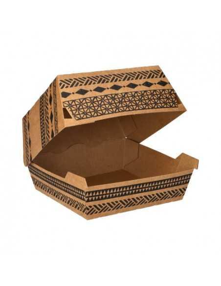 """Cajas hamburguesa grande cartón marrón decorado """"Maori"""""""