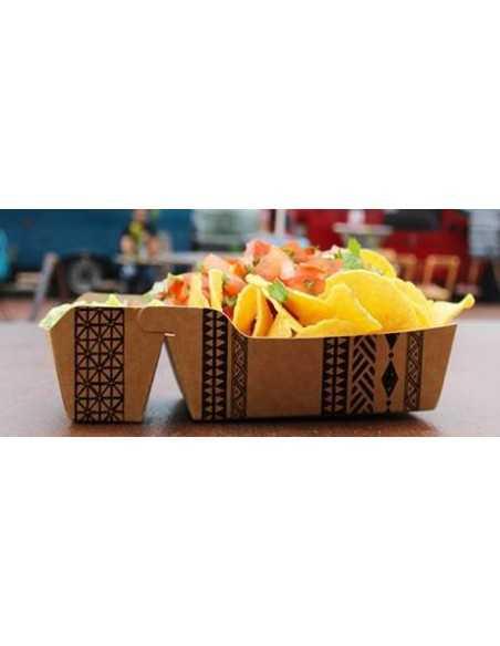 "Bandejas para fritos cartón marrón 2 compartimentos mediana""Maori"""