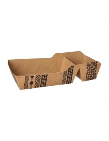 """Bandejas para fritos cartón marrón 2 compartimentos 18,5 x 10 cm """"Maori"""""""