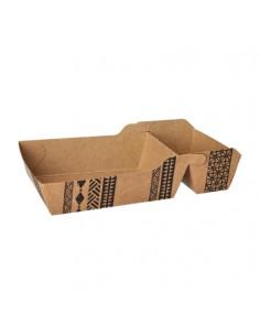 "Bandejas para fritos cartón marrón 2 compartimentos grande ""Maori"""