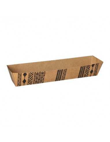 "Bandejas cartón para fritos marrón 7,4 x 20,2 cm ""Maori"""
