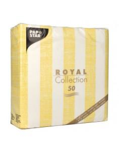 Servilletas de papel rayas amarillo blanco Royal Collection 40 x 40 cm