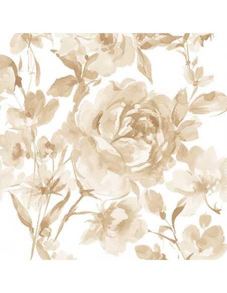 Servilletas de papel decoradas rosas arena Royal Collection 40 x 40 cm