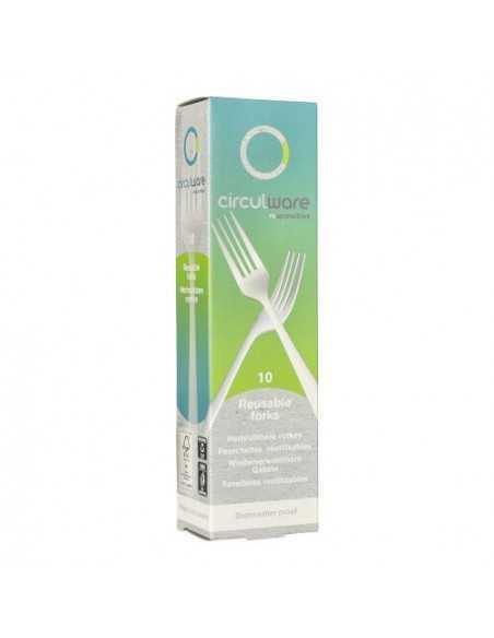 Tenedores reutilizables bioplástico color blanco resistentes 18,5 cm