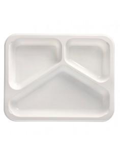 Bandejas micro-ondas 3 compartimentos branco PP 765 ml