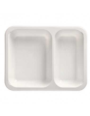 Bandejas microondables plástico blanco 2 compartimentos 1205 ml