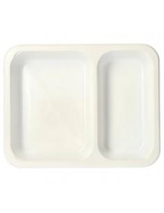 Bandejas microondables plástico blanco 2 compartimentos 866 ml