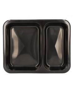 Bandejas microondables plástico negro 2 compartimentos 866 ml