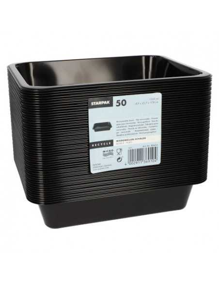 Bandejas microondables plástico negro take away 1330 ml