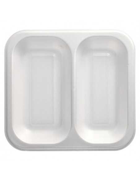 Bandejas para menú termosellables blancas XPS 2 compartimentos 1250 ml