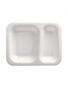 Bandejas para menú termosellables 2 compartimentos XPS blanco 725ml