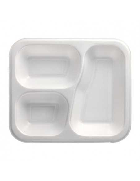 Bandejas para menú termosellables blancas 3 compartimentos XPS 925 ml