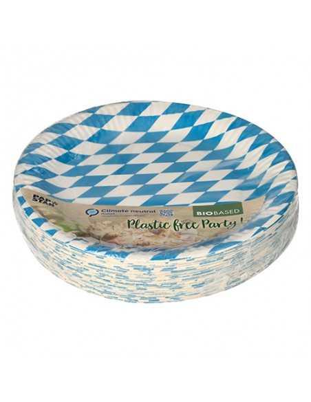 Platos cartón baviera azul compostables 100% redondos Ø 23cm