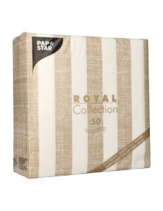 Servilletas de papel rayas arena blanco Royal Collection 40 x 40 cm