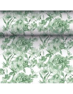 Camino mesa papel decorado rosas verde Royal Collection 24 m x 40 cm