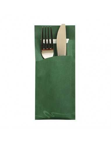 Fundas papel para cubiertos color verde oscuro incluye servilleta