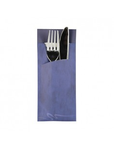 Fundas papel para cubiertos color azul incluye servilleta