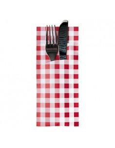 Fundas cubierto papel cuadros vichy rojo con servilleta incluida