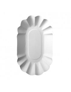 Bandejas de cartón blanco ovaladas Pure 14 x 22 cm