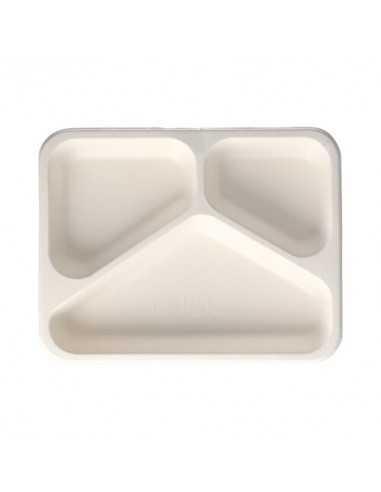 Bandejas de caña azúcar take away con 3 compartimentos 600ml Pure