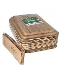 Bandejas hoja de palma 2 compartimentos con tapa 25,5 x 17,5 Pure