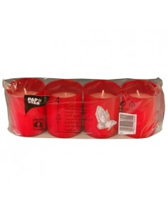Velas ofrenda religiosa pequeñas envase rojo Ø 5 x 6,5 cm