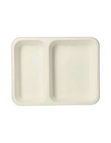 Bandejas take away menú caña azúcar blanco 2 compartimentos 700 ml Pure