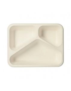 Bandejas servicio menú caña azúcar blanco 3 compartimentos 800 ml Pure