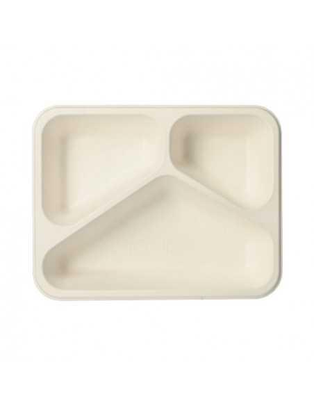 Bandejas take away menú caña azúcar blanco 3 compartimentos 800 ml Pure