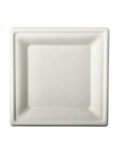 Platos caña azúcar cuadrados color blanco 20 x 20 cm Pure