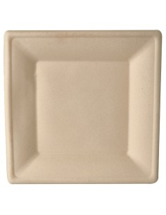 Platos cuadrados caña azúcar color natural 26 x 26 cm