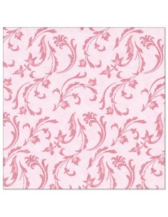 Servilletas de papel decoradas Royal Colection rosa 40 x 40 cm Damascato